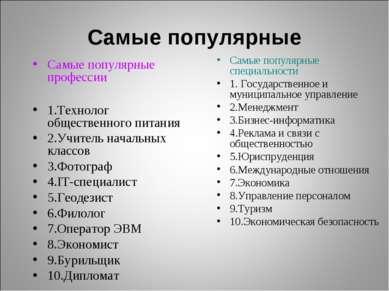 Самые популярные Самые популярные профессии 1.Технолог общественного питания ...
