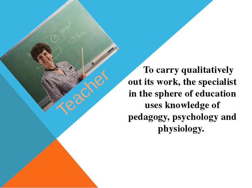 Teacher To carry qualitatively out its work, the specialist in the sphere of ...