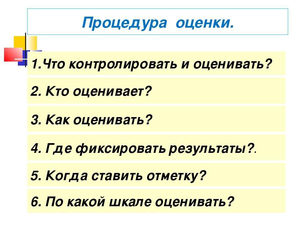 Что контролировать и оценивать? 2. Кто оценивает? 3. Как оценивать? 4. Где фи...