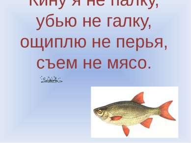 Кину я не палку, убью не галку, ощиплю не перья, съем не мясо.