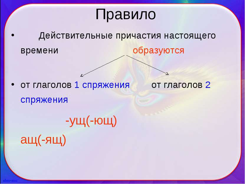 Правило Действительные причастия настоящего времени образуются от глаголов 1 ...
