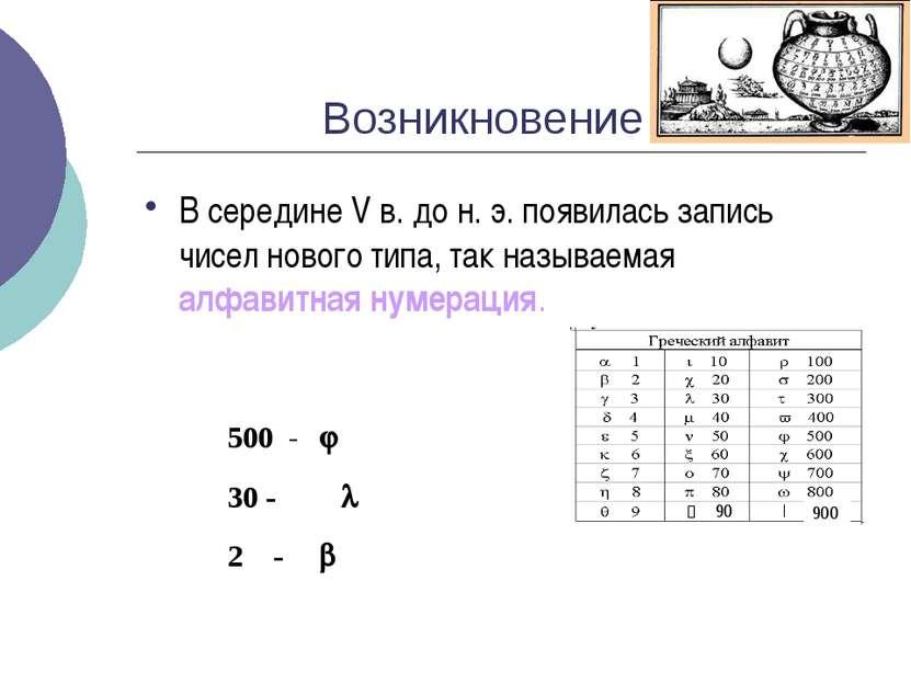 Возникновение В середине V в. до н. э. появилась запись чисел нового типа, та...
