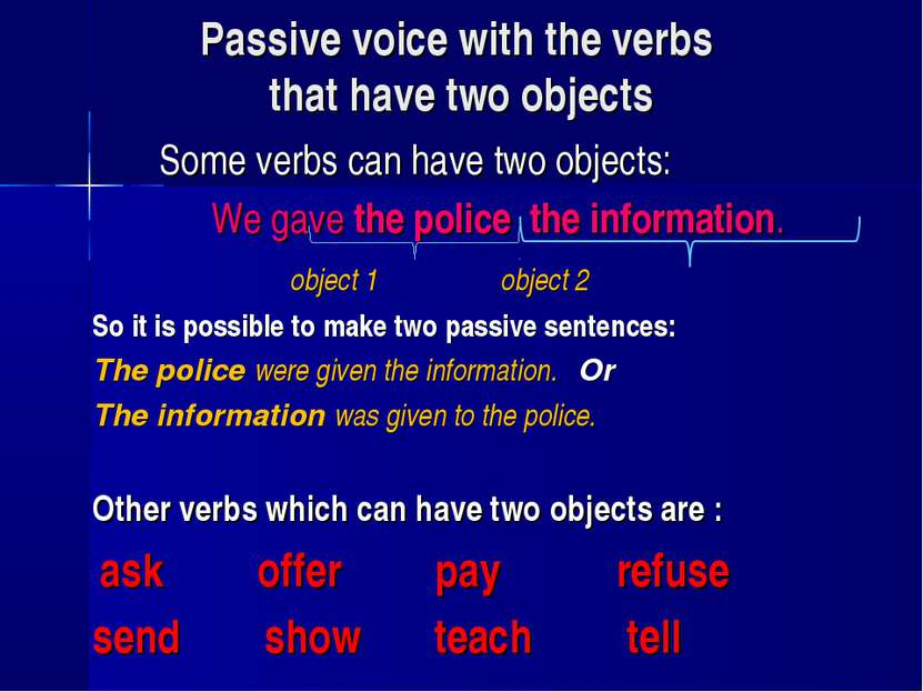 Passive voice with the verbs that have two objects Some verbs can have two ob...