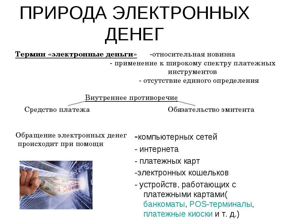 ПРИРОДА ЭЛЕКТРОННЫХ ДЕНЕГ -компьютерных сетей - интернета - платежных карт -э...
