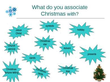 What do you associate Christmas with? Jesus Christ Christmas star Church serv...