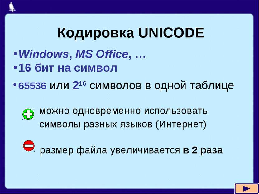 Кодировка UNICODE Windows, MS Office, … 16 бит на символ 65536 или 216 символ...