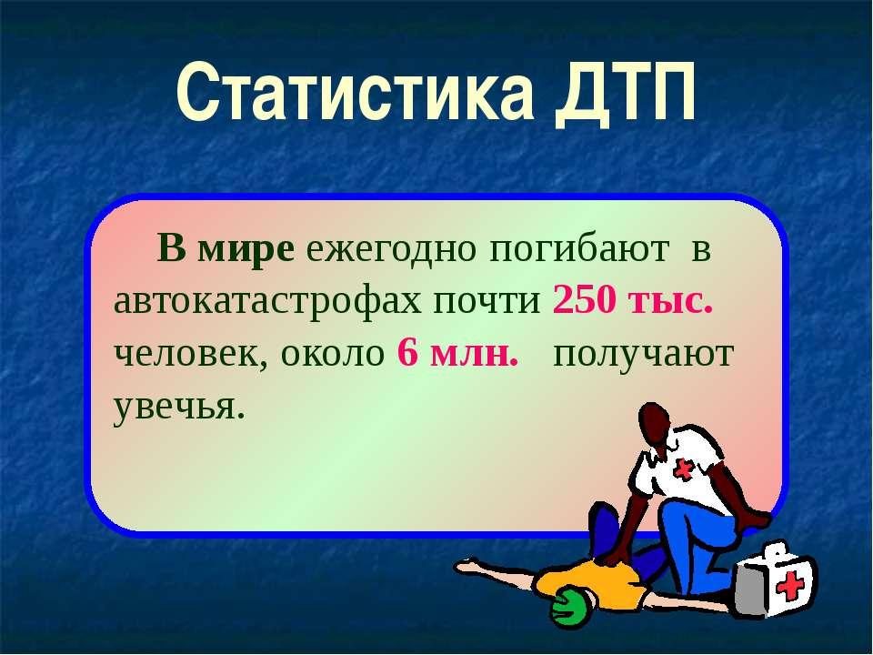 Статистика ДТП В мире ежегодно погибают в автокатастрофах почти 250 тыс. чело...