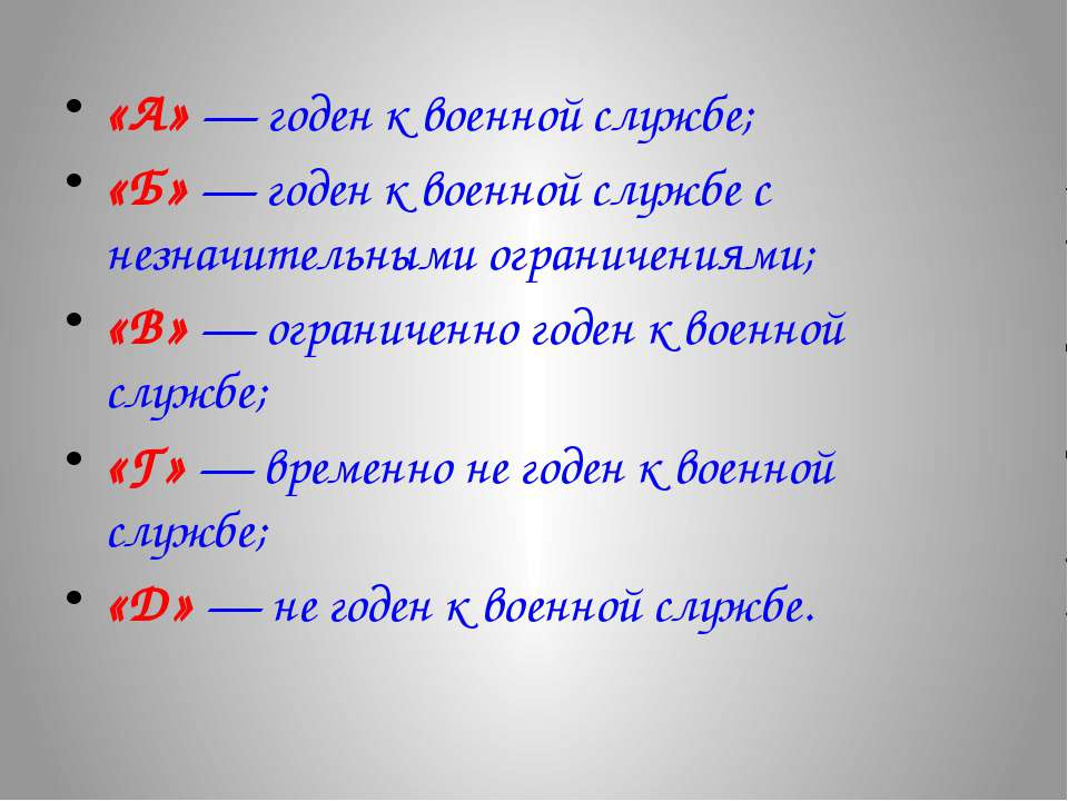 «А» — годен к военной службе; «Б» — годен к военной службе с незначительными ...