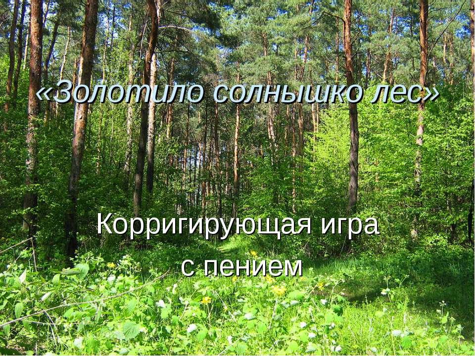 «Золотило солнышко лес» Корригирующая игра с пением