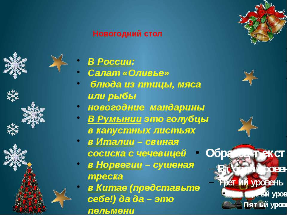 Новогодний стол В России: Салат «Оливье» блюда из птицы, мяса или рыбы нового...