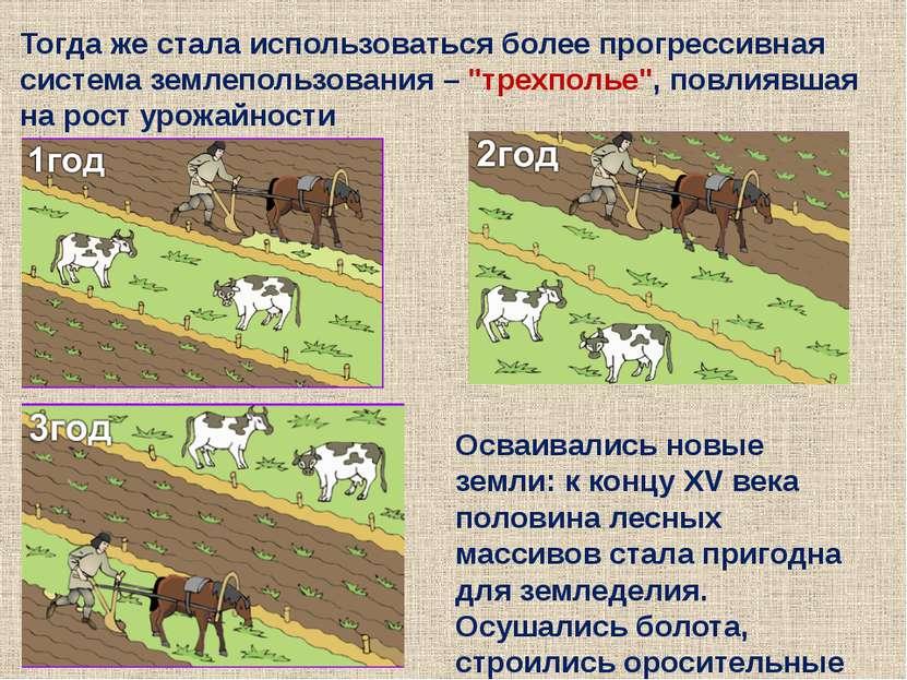 Тогда же стала использоваться более прогрессивная система землепользования – ...