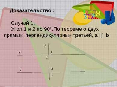Доказательство : Случай 1. Угол 1 и 2 по 90°.По теореме о двух прямых, перпен...