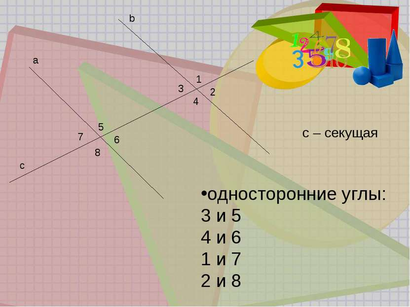 b a 1 2 3 4 5 6 7 8 c с – секущая односторонние углы: 3 и 5 4 и 6 1 и 7 2 и 8