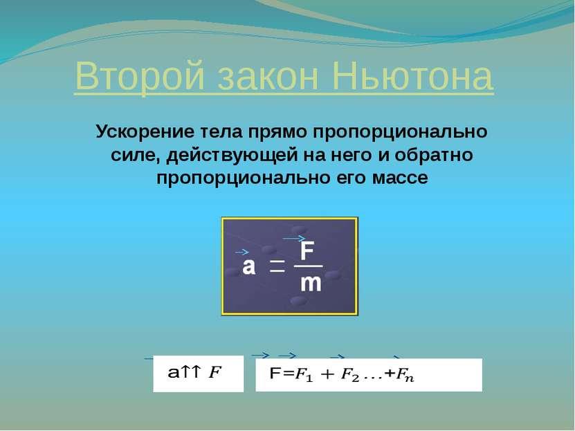 Второй закон Ньютона Ускорение тела прямо пропорционально силе, действующей н...