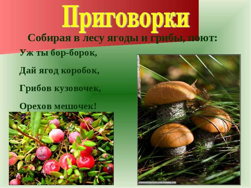 Собирая в лесу ягоды и грибы, поют: Уж ты бор-борок, Дай ягод коробок, Грибов...