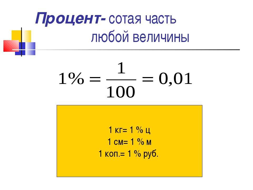 Процент- сотая часть любой величины 1 кг= 1 % ц 1 см= 1 % м 1 коп.= 1 % руб.