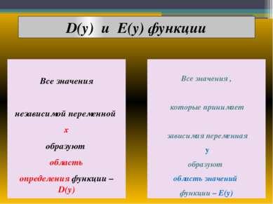 D(y) и E(y) функции Все значения независимой переменной х образуют область оп...