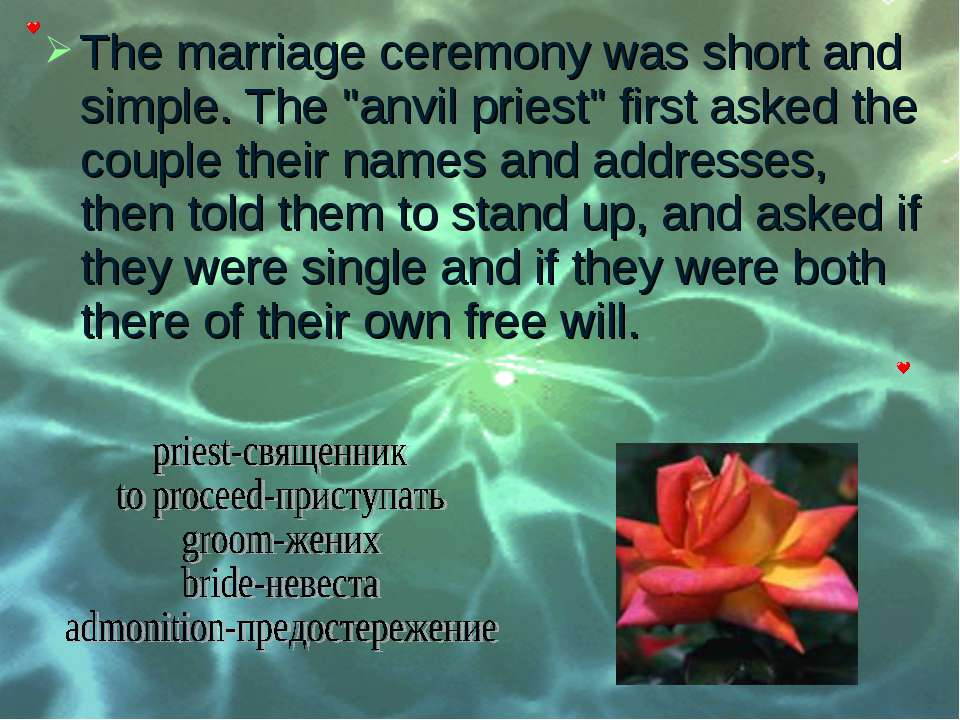 "The marriage ceremony was short and simple. The ""anvil priest"" first asked th..."