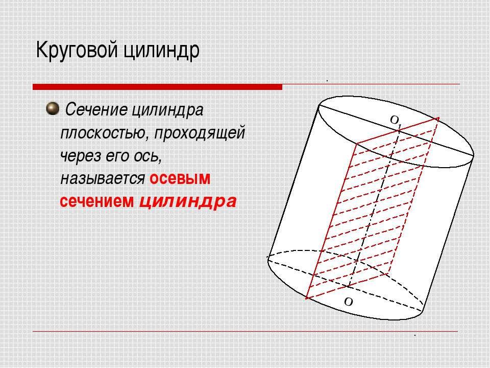 Круговой цилиндр Сечение цилиндра плоскостью, проходящей через его ось, назыв...