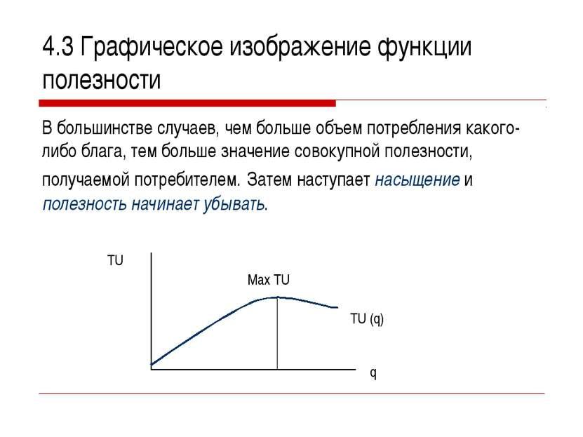4.3 Графическое изображение функции полезности В большинстве случаев, чем бол...