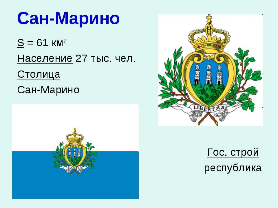 Сан-Марино S = 61 км2 Население 27 тыс. чел. Столица Сан-Марино Гос. строй ре...