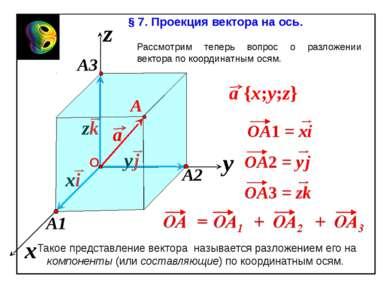 x z y § 7. Проекция вектора на ось. Рассмотрим теперь вопрос о разложении век...