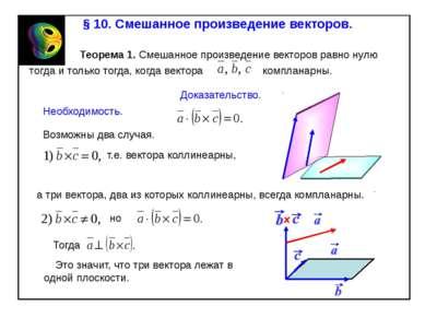 § 10. Смешанное произведение векторов. Теорема 1. Смешанное произведение вект...