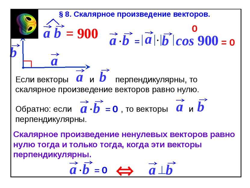 cos 900 = 0 0 Û Скалярное произведение ненулевых векторов равно нулю тогда и ...