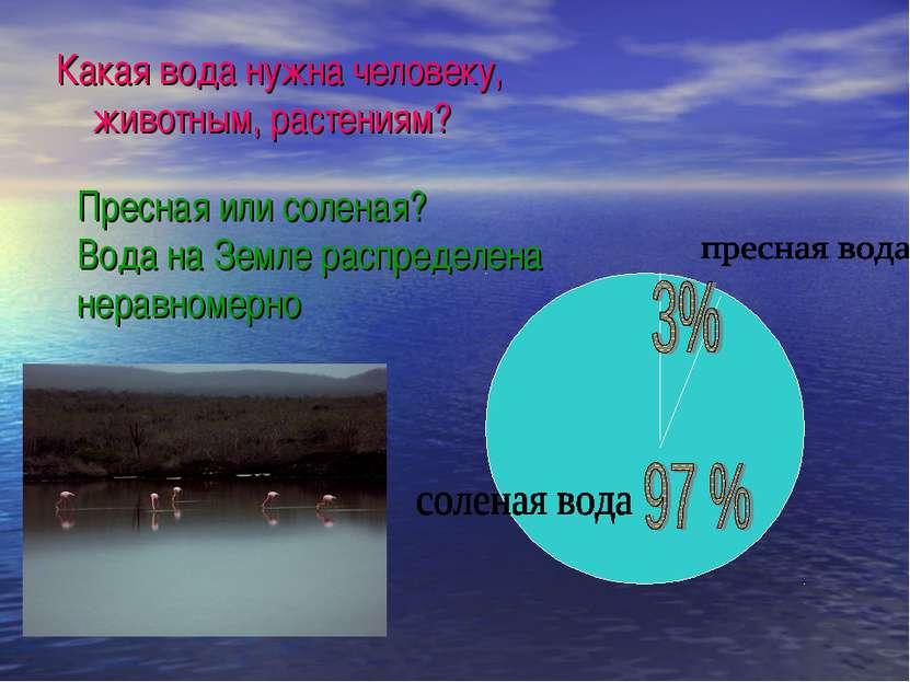 Какая вода нужна человеку, животным, растениям? Пресная или соленая? Вода на ...