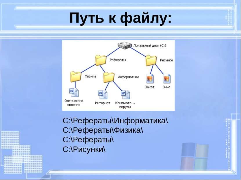 C:\Рефераты\Информатика\ C:\Рефераты\Физика\ C:\Рефераты\ C:\Рисунки\ Путь к ...