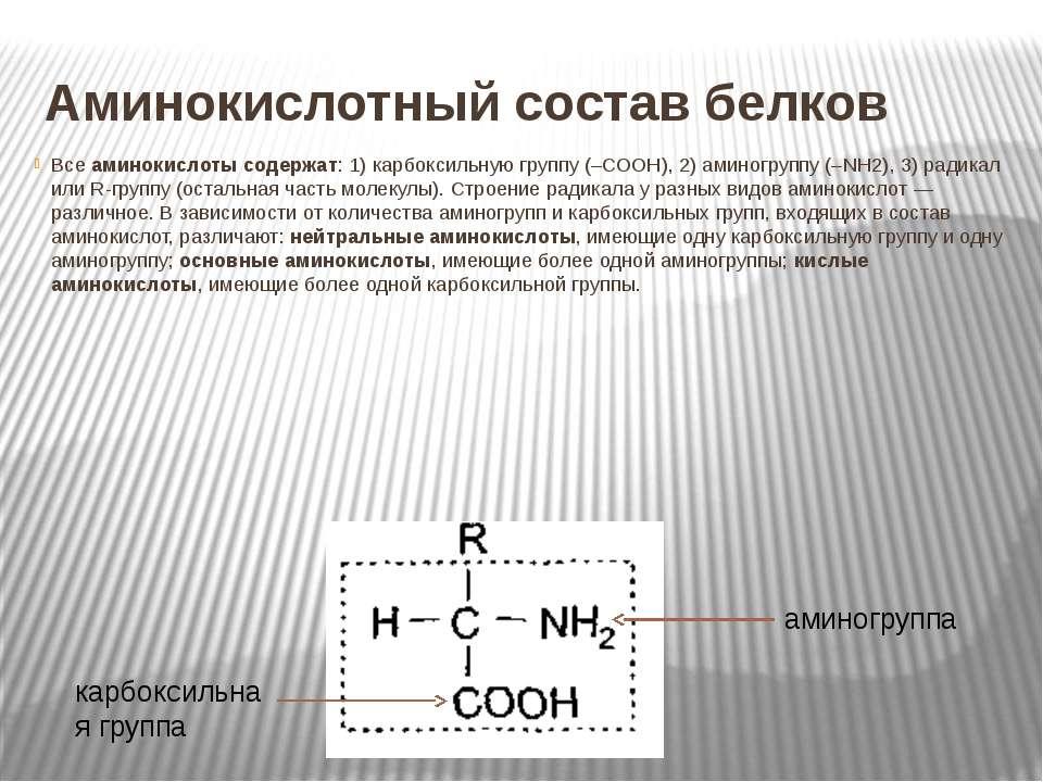 Аминокислотный состав белков Все аминокислоты содержат: 1) карбоксильную груп...
