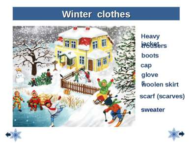 Heavy jacket trousers boots Winter clothes cap scarf (scarves) gloves woolen ...