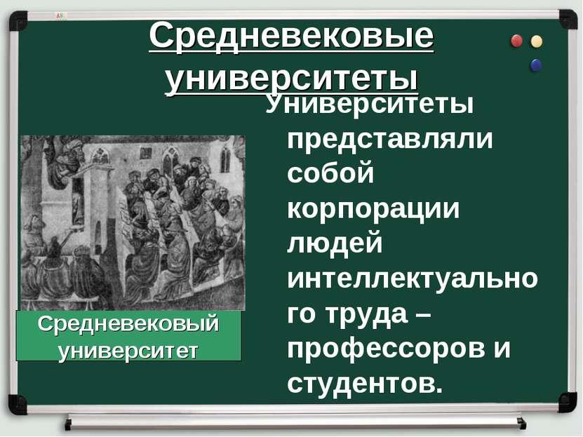 Средневековые университеты Университеты представляли собой корпорации людей и...