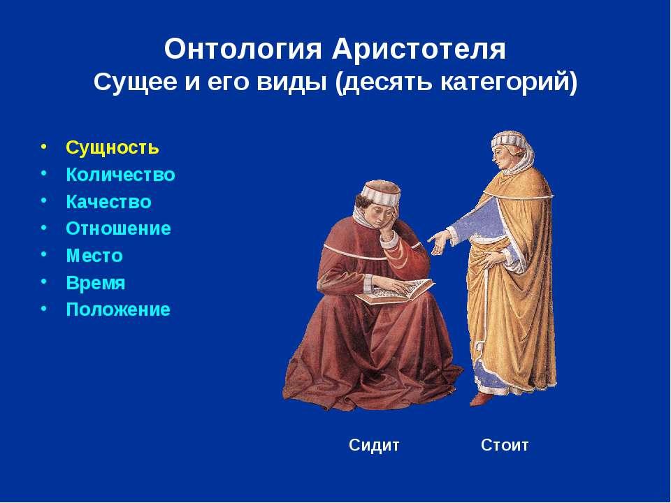 Сущность Количество Качество Отношение Место Время Положение Онтология Аристо...