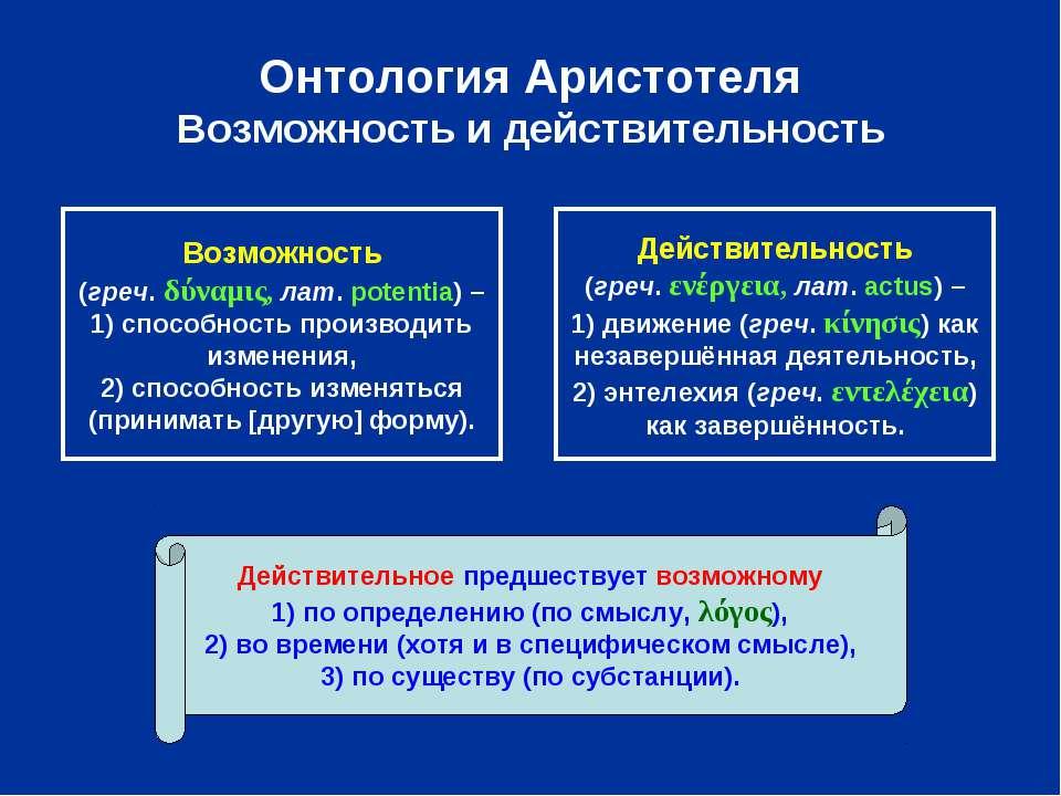 Онтология Аристотеля Возможность и действительность Возможность (греч. δύναμι...