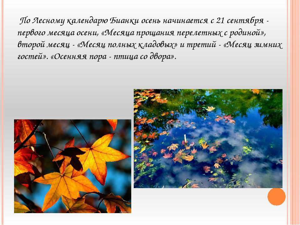 По Лесному календарю Бианки осень начинается с 21 сентября - первого месяца о...