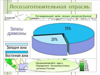 Потенциальный запас лесных ресурсов (баллы) Проанализируйте карту. Определите...