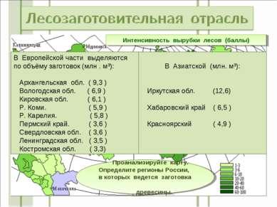 Интенсивность вырубки лесов (баллы) Проанализируйте карту. Определите регионы...