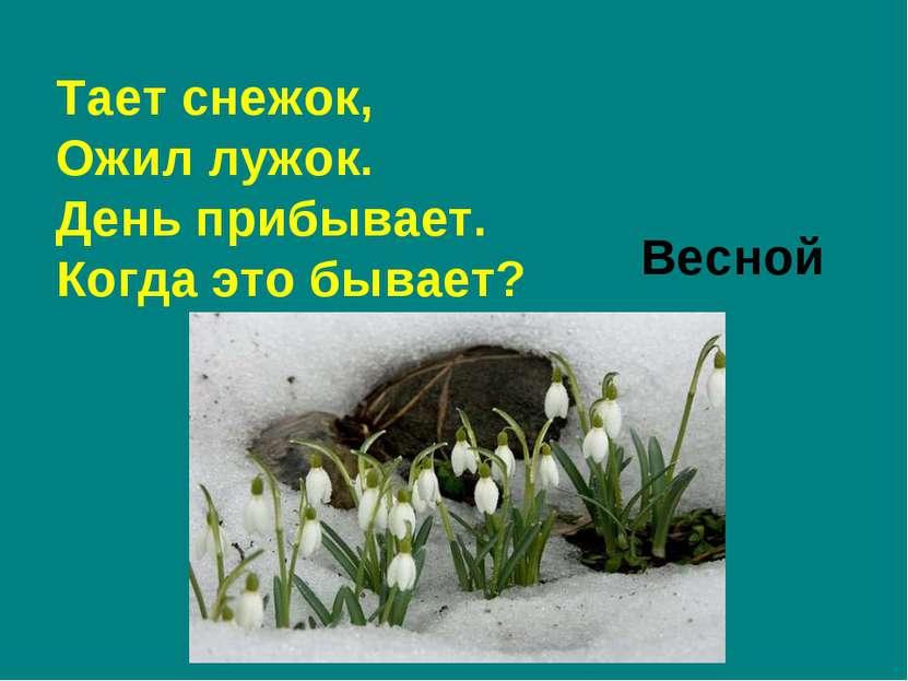 Тает снежок, Ожил лужок. День прибывает. Когда это бывает? Весной
