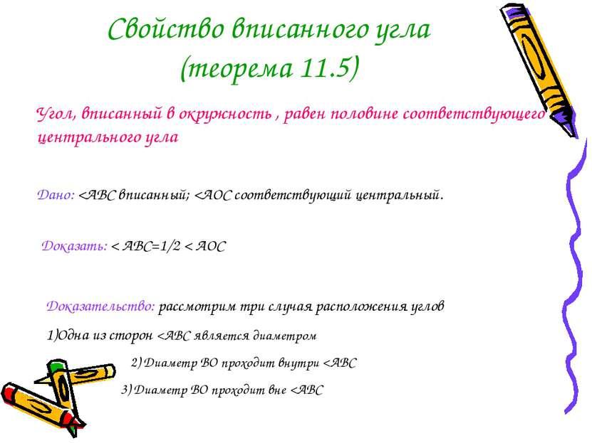 Свойство вписанного угла (теорема 11.5) Угол, вписанный в окружность , равен ...