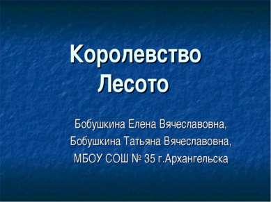 Королевство Лесото Бобушкина Елена Вячеславовна, Бобушкина Татьяна Вячеславов...