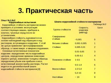 3. Практическая часть Опыт №1.№2 Коррозийные испытания. Коррозийную стойкость...