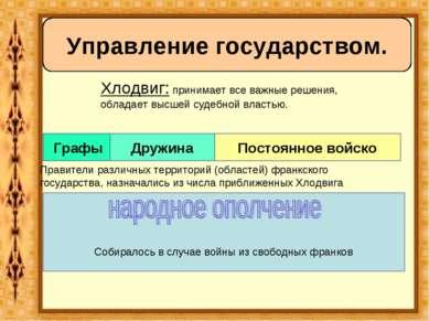 Управление государством. Хлодвиг: принимает все важные решения, обладает высш...