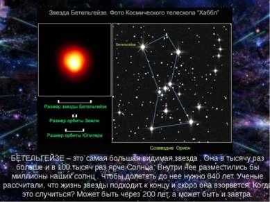 БЕТЕЛЬГЕЙЗЕ – это самая большая видимая звезда . Она в тысячу раз больше и в ...