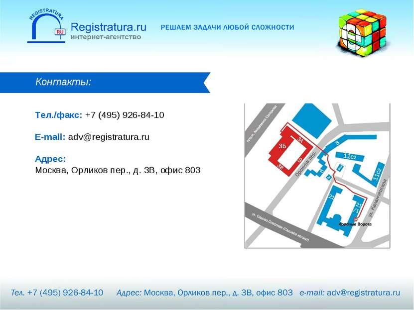 Контакты: Тел./факс: +7 (495) 926-84-10 E-mail: adv@registratura.ru Адрес: Мо...