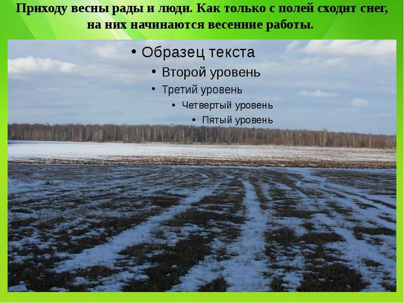 Приходу весны рады и люди. Как только с полей сходит снег, на них начинаются ...