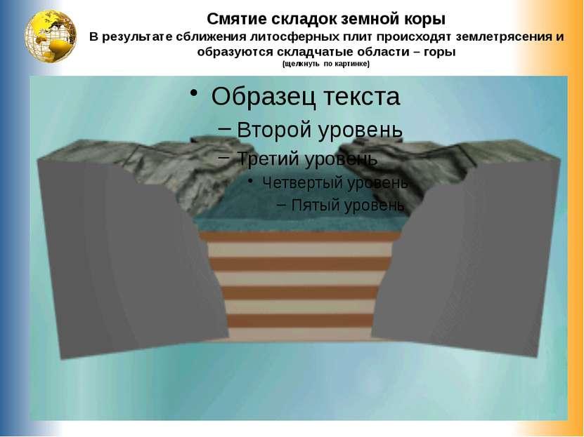 Смятие складок земной коры В результате сближения литосферных плит происходят...