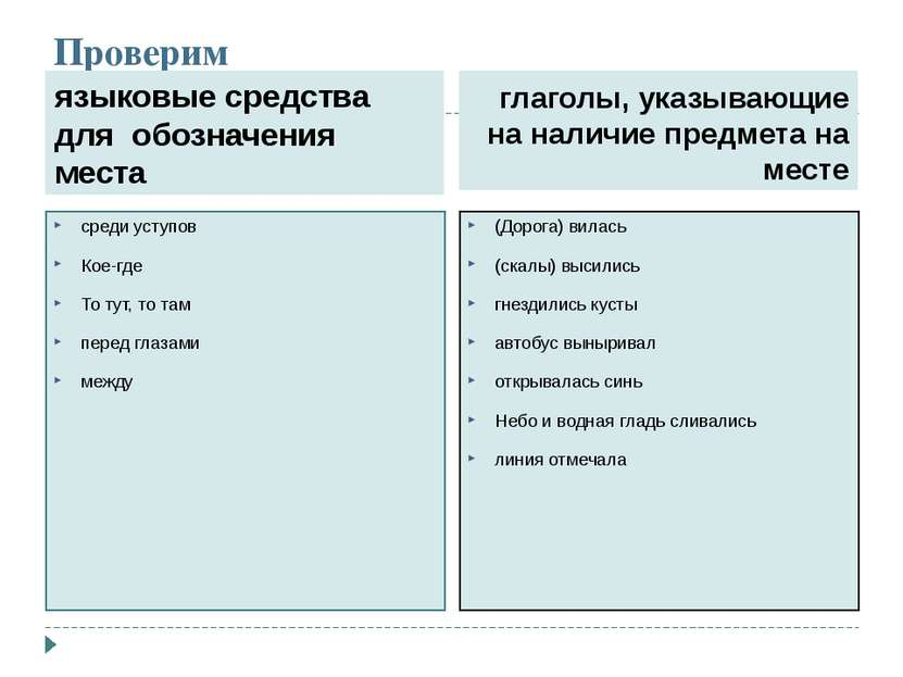 Проверим языковые средства для обозначения места глаголы, указывающие на нали...