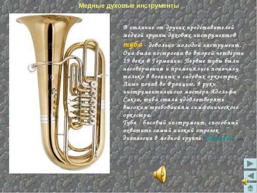 Медные духовые инструменты В отличие от других представителей медной группы д...