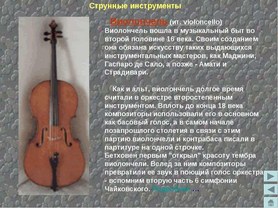 Виолончель (ит. violoncello) Виолончель вошла в музыкальный быт во второй пол...